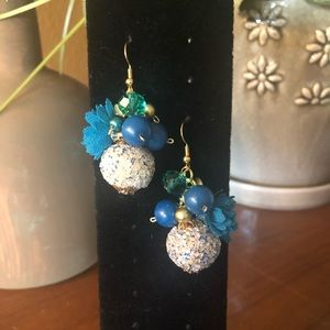 Royal Blue and Gold Cluster Earrings